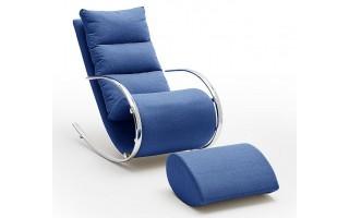 Fotel York + podnóżek niebieski
