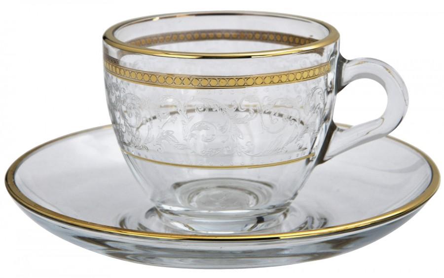 Komplet 2 filiżanek ze spodkami do espresso Dolce Vita Gold
