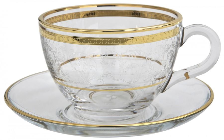 Komplet 2 filiżanek ze spodkami do cappuccino Dolce Vita Gold