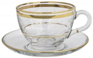 Zestaw 6 filiżanek ze spodkami do cappuccino Dolce Vita Gold
