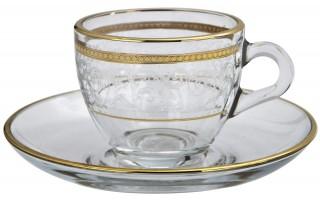 Zestaw 6 filiżanek ze spodkami do espresso Dolce Vita Gold