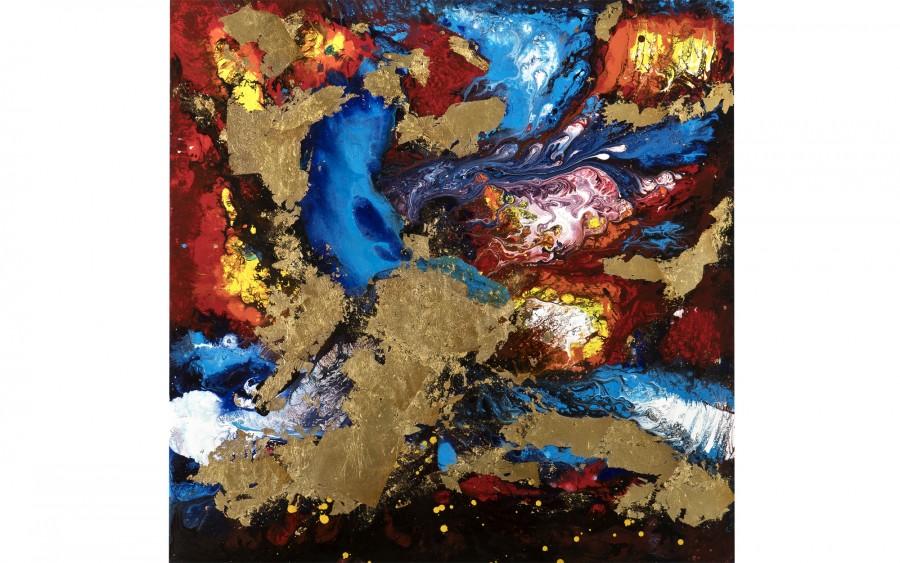 Obraz abstrakcyjny 100x100 cm Golden
