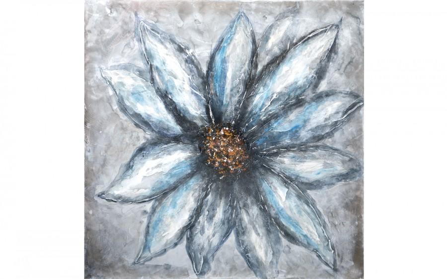 Obraz 100x100 cm Niebieski Kwiat