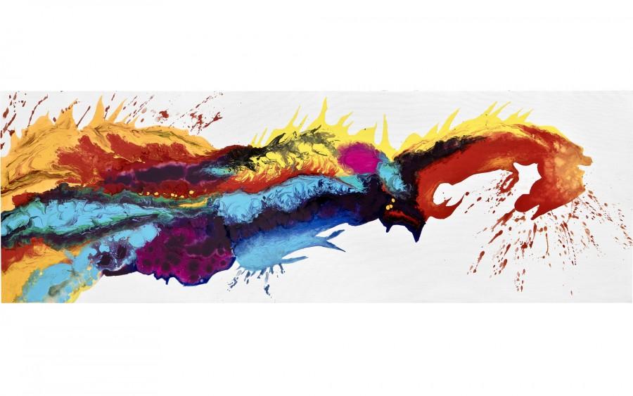 Obraz abstrakcyjny 50x150 cm Explosion of Hues