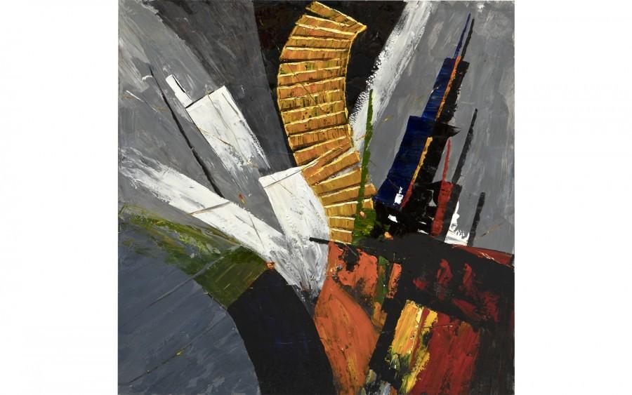 Obraz abstrakcyjny 100x100 cm Dark Staircase