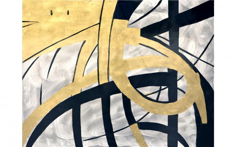 Obraz abstrakcyjny 80x100 cm Yellow Swirls