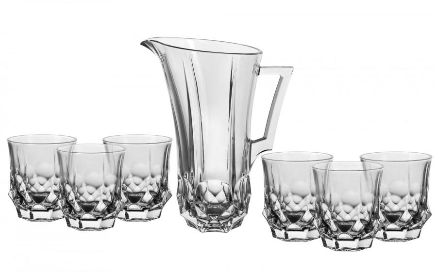 Komplet kryształowy dzbanek + 6 szklanek Bohemia