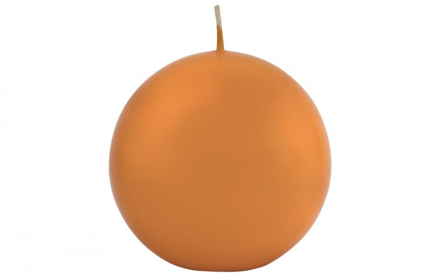 Świeca kula w kolorze pomarańczowym śr. 10 cm