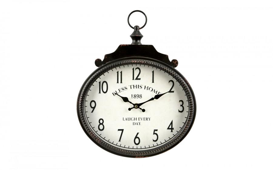 Zegar owalny metalowy 31x35,5 cm