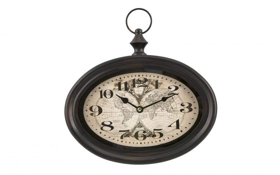 Zegar owalny metalowy 28x25 cm