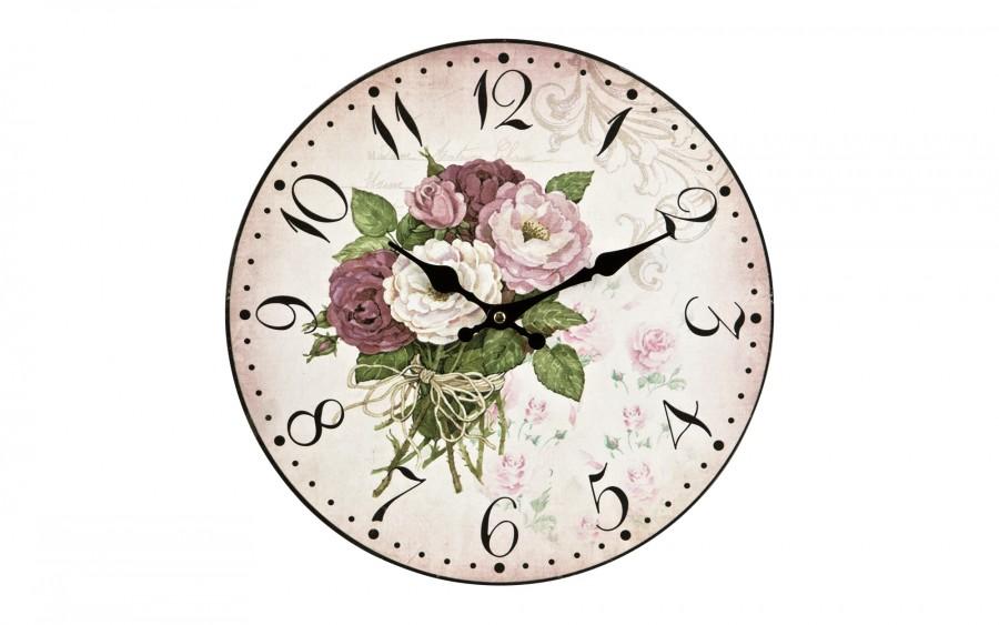 Zegar drewniany z motywem 34 cm