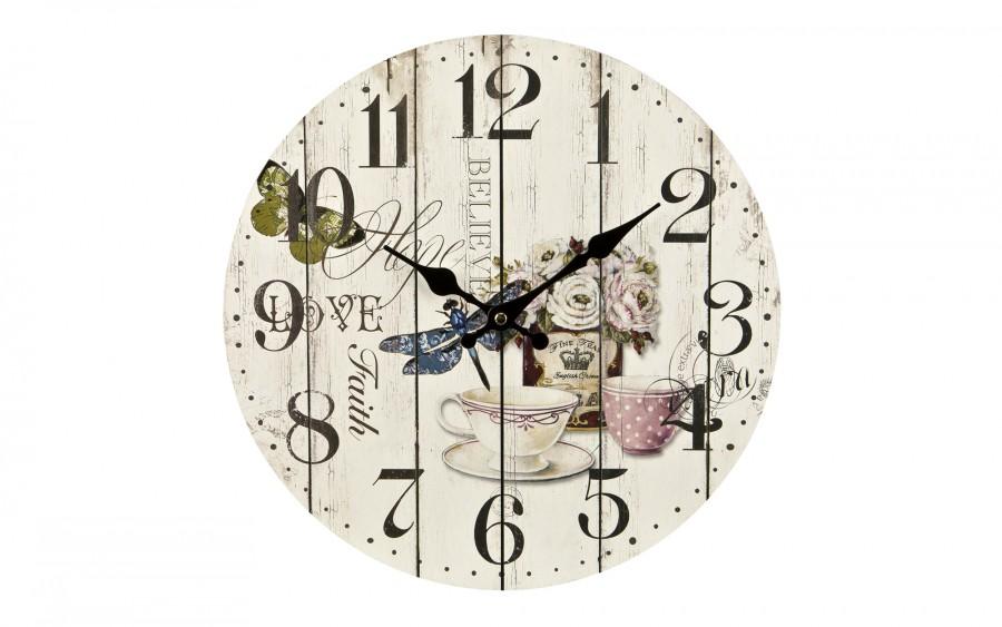 Zegar drewniany z ozdobnym motywem 34 cm
