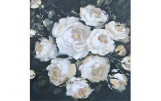 Obraz 90x90cm Kwiaty Białe