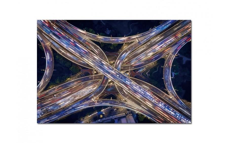 Obraz szklany 120x80 Węzeł drogowy nocą