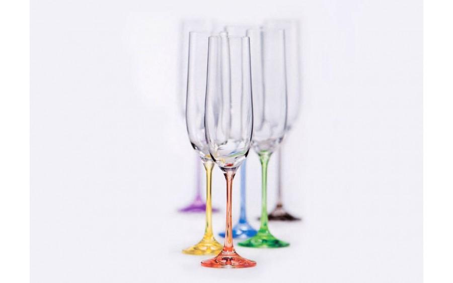 Kpl. 6 kolorowych kieliszków do szampana Rainbow