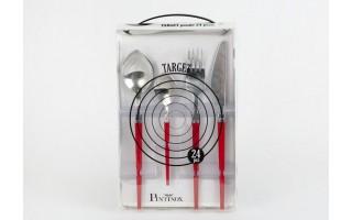 Sztućce 6/24 Pintinox Target - czerwony