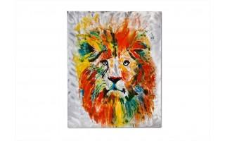 Obraz LEW ręcznie malowany 80x100cm kolorowy