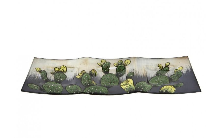 Podstawka ozdobna szklana z motywem kaktusów