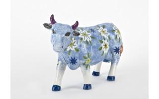Ozdoba ceramiczna Niebieska Krowa w kwiaty