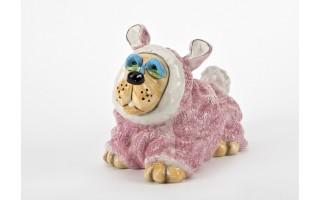Skarbonka Pies w różowym ubranku