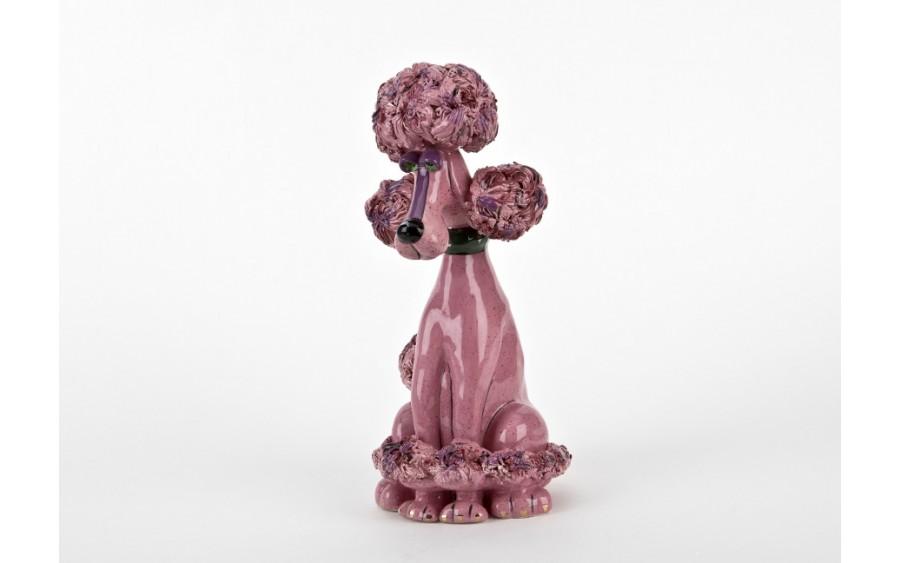 Skarbonka ceramiczna Pies Pudel różowy