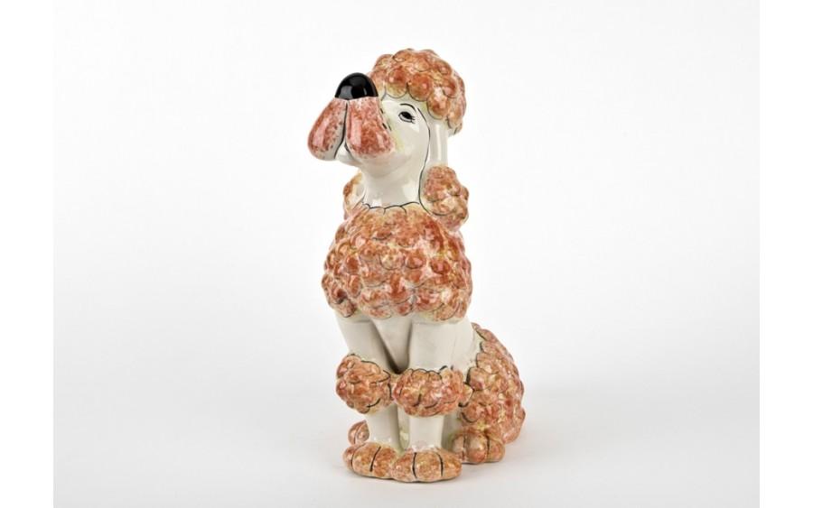 Ceramiczna skarbonka Pies Pudel Biały