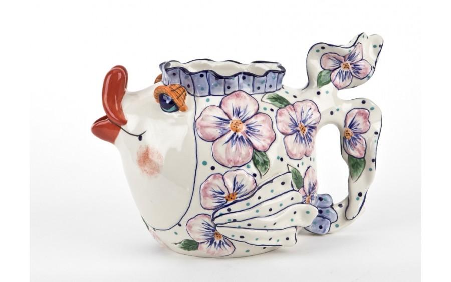 Ceramiczny imbryk Ryba różowe kwiaty