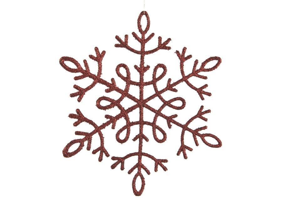 12x Ozdoba świąteczna śnieżynka czerwona
