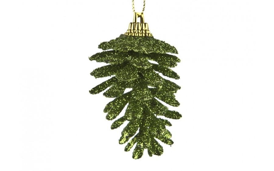 6x Ozdoba świąteczna szyszka zielona