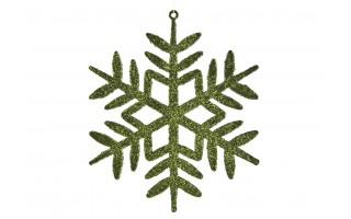 12x Ozdoba świąteczna śnieżynka zielona