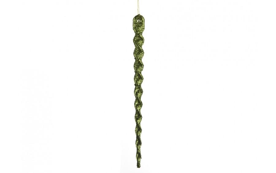 24x Ozdoba świąteczna zielony sopel