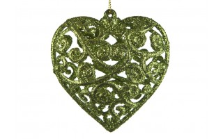 6x Bombka zielona serce