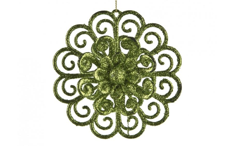 3x Ozdoba świąteczna kwiat zielony