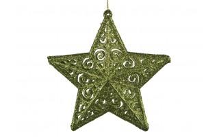 4x Ozdoba świąteczna zielona gwiazdka