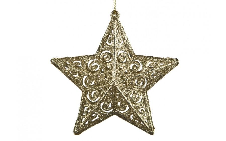 4x Ozdoba świąteczna złota gwiazdka