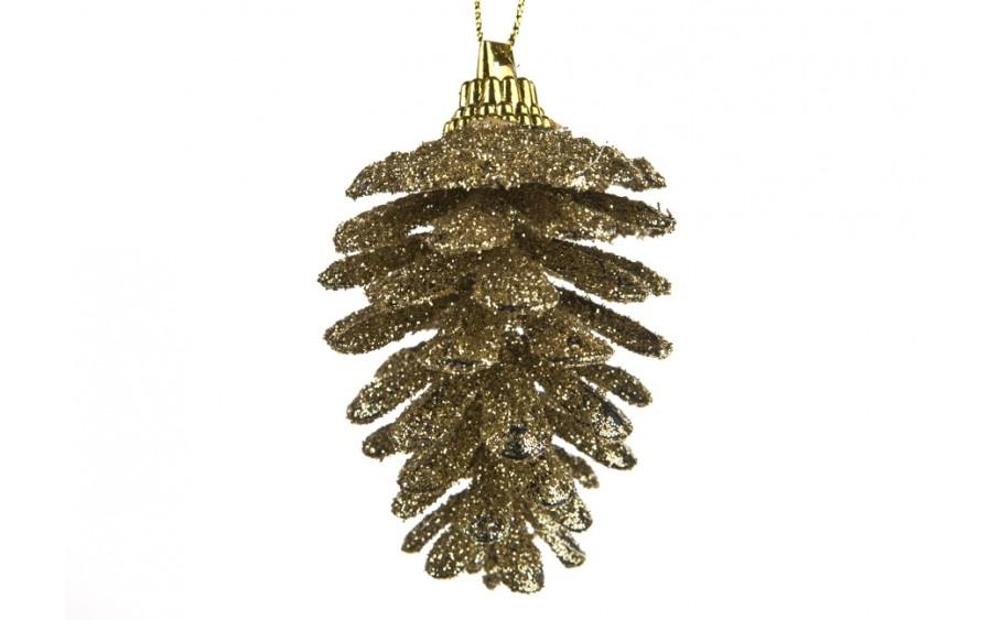 6x Ozdoba świąteczna szyszka złota