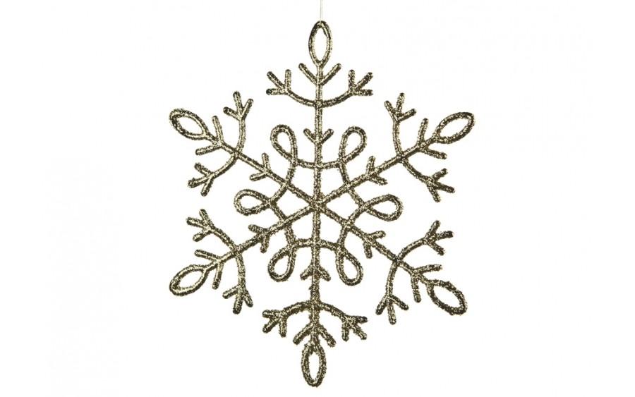 12x Ozdoba świąteczna śnieżynka złota
