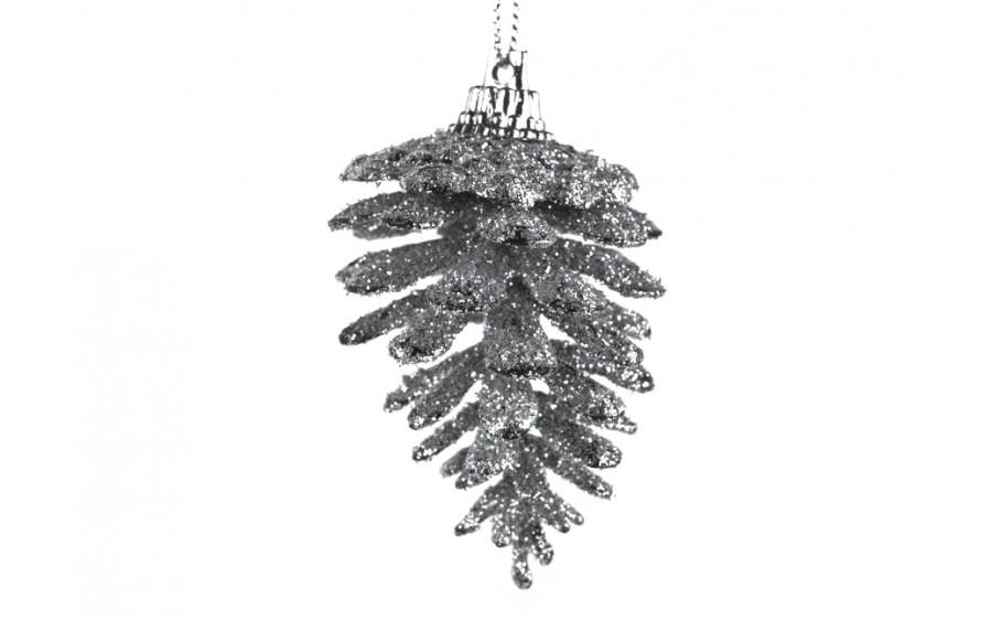 6x Ozdoba świąteczna szyszka srebrna