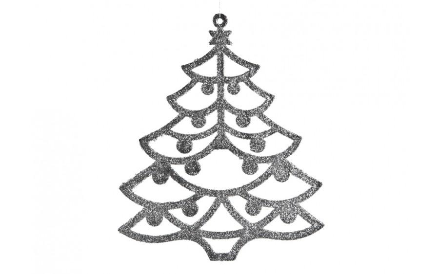 12x Ozdoba świąteczna choinka srebrna