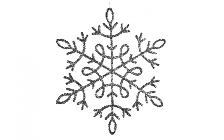 12x Ozdoba świąteczna śnieżynka srebrna