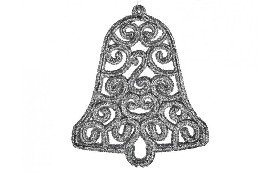 12x Ozdoba świąteczna srebrny dzwonek