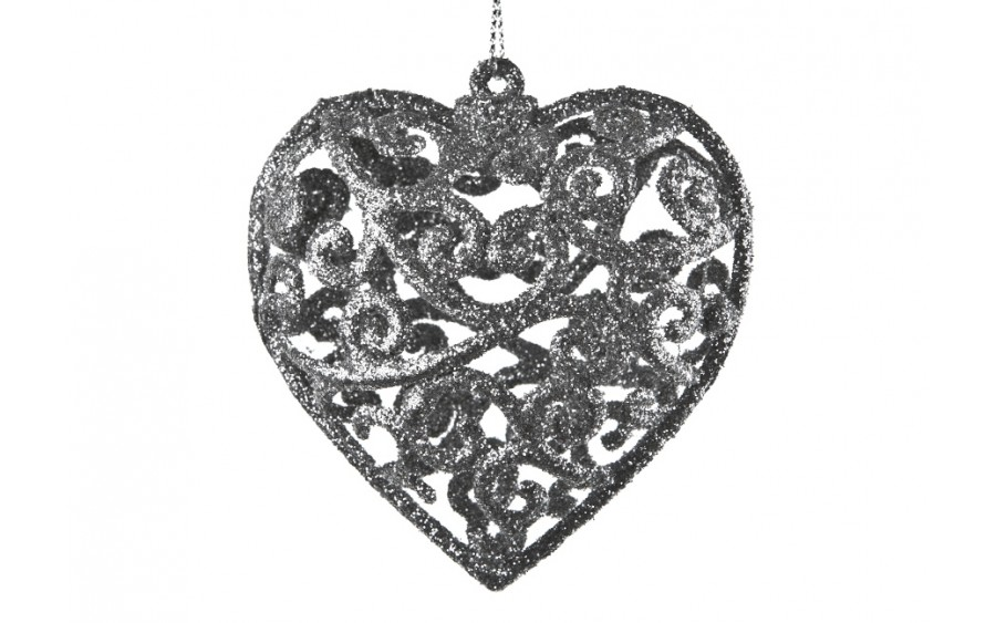6x Bombka srebrna serce