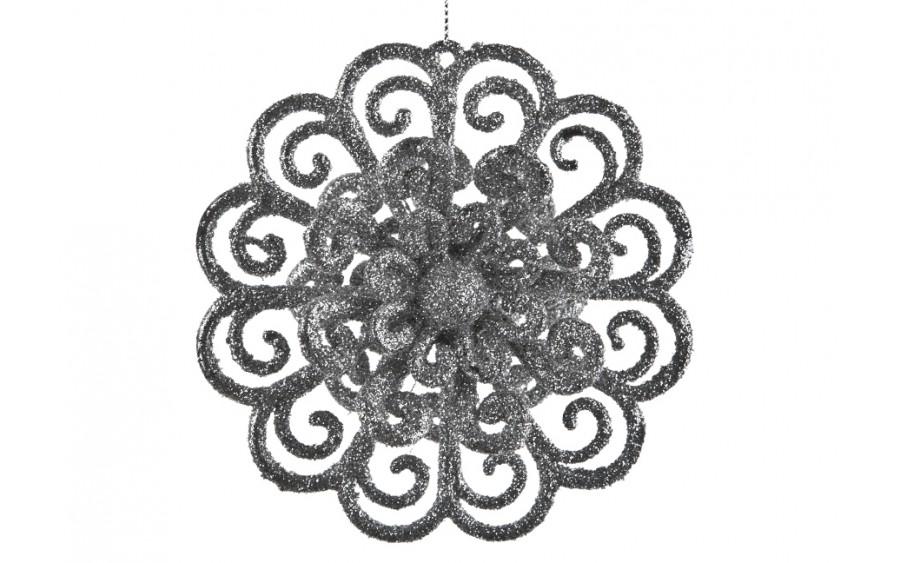 3x Ozdoba świąteczna kwiat srebrna