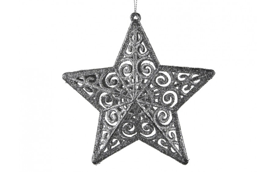 4x Ozdoba świąteczna srebrna gwiazdka