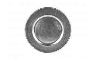 Talerz plastikowy ozdobny 30cm - srebrny