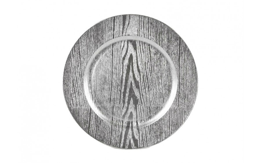Talerz plastikowy ozdobny 33cm - srebrne słoje