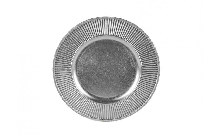 Talerz plastikowy ozdobny 33cm - srebrny