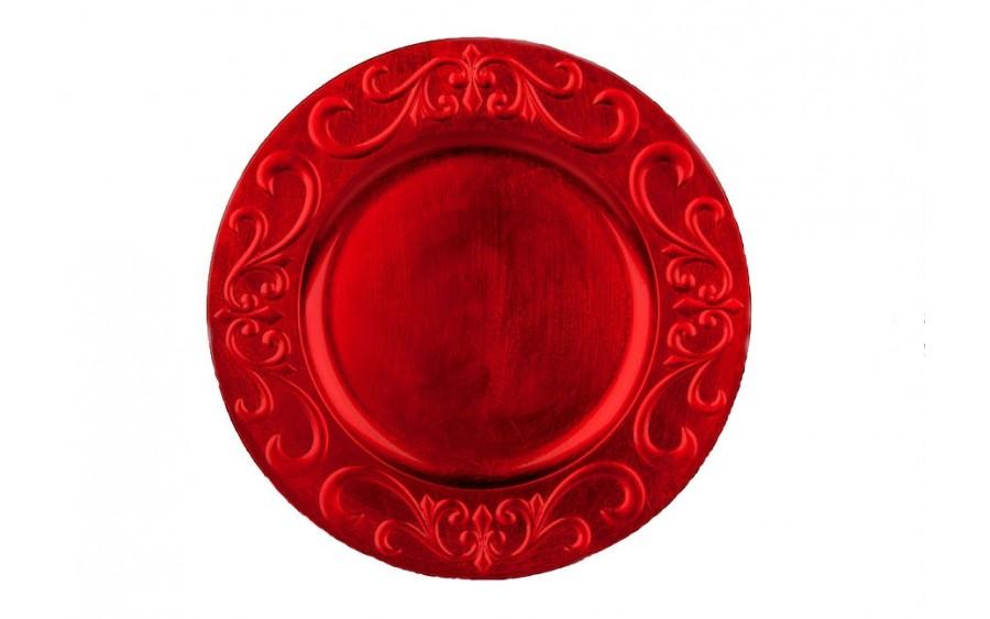 Talerz plastikowy ozdobny 33cm - czerwony
