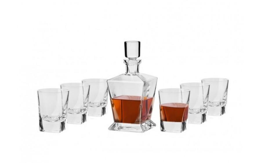 Karafka szklana + 6 szklanek Whisky Caro Krosno