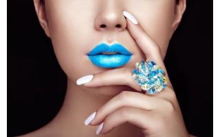 Obraz szklany 120x80 Blue Lips